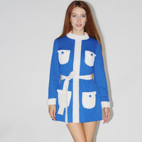 1960s Vintage Blue Mod Mini Dress