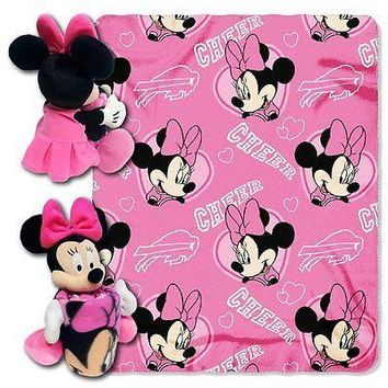 Minnie Mouse Cheerleader Buffalo Bills NFL Throw and Hugger Pillow Set