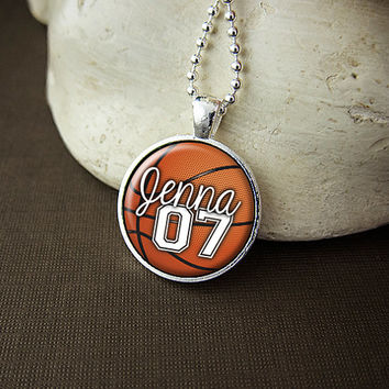Personalized Basketball Pendant Necklace, Custom Basketball Necklace, Basketball Team Pendant, Basketball Mom