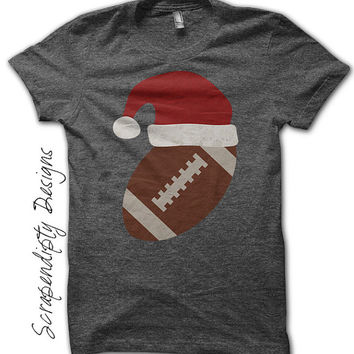 Iron on Football Shirt PDF - Santa Hat Iron on Transfer / Christmas Outfit / Kids Boys Clothing Tshirt / Toddler Christmas Football IT283-C