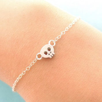 Tiny Cute, Halloween, Skull Pendant, Gold filled/ Sterling Silver Chain, Bracelet