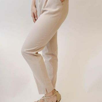 High-Waisted Trouser - Taupe