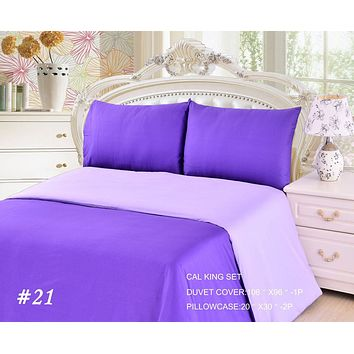 Tache 2-3 Piece Cotton Solid Purple Lavender Dreams Reversible Duvet Cover Set (TADC32PC-PP)