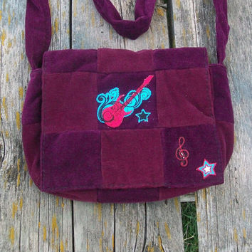 Purple Red Recycled Corduroy Crossbody Purse Guitar Patch Long Strap Rock N Roll