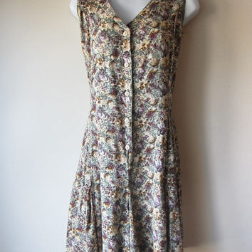 90s Flowy Floral Romper -- Sweet Grunge, Romantic Mori Girl Style -- Natural Neutral