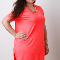Neon Coral Chain Necklace Tunic In Plus Sizes