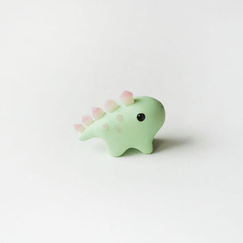 Light Green and Pink Crystal Stegosaurus Dinosaur Miniature Figure
