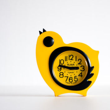 Childrens Alarm Clock, Yellow Chicken Desk Clock, Kids Room Decor, Bird Clock, Slava Clock, Bright Yellow Clock, Spring Easter, ohtteam