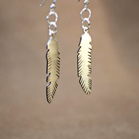 Feather Earrings Handsawed and Engraved for Rustic Artisan Beauty - Solid 925 Sterling Silver with Patinas - ER607