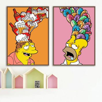 Cartoon Simpsons Beer Donut Nordic Posters And Prints Wall Art Canvas Painting Pop Art Wall Pictures For Kids Room Boy Decor