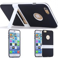 Black Ultra Slim Soft TPU Kickstand Case for Iphone 6 6s Plus 5.5 Back Cover Cell Phone Accessories Stand Holder [8424636679]