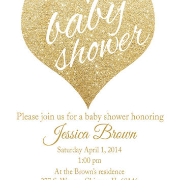 baby shower invitation white and gold Valentine YOU CHOOSE COLOR glitter baby shower invite  heart baby shower invite  digital printable