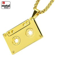 Jewelry Kay style Men's Gold Plated Stainless Steel Cassette Tape Pendant Chain Necklace SCP 188 G