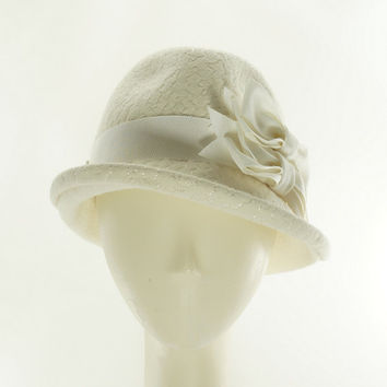 Winter White WOMENS FEDORA / Fur Felt White Hat / Handmade by Marcia Lacher Hats