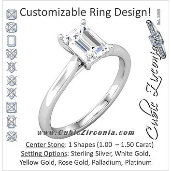 Cubic Zirconia Engagement Ring- The Kristina (1.0 or 1.5 Carat Emerald Cut Solitaire)