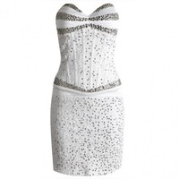 Posh Girl White Beaded Corset Dress