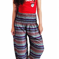 bohemian pants/hippie clothes/elastic waist/peacock design/Aladdin Pants/Yoga pants/elephant thai pants/Harem pants/boho pants/gypsy pants
