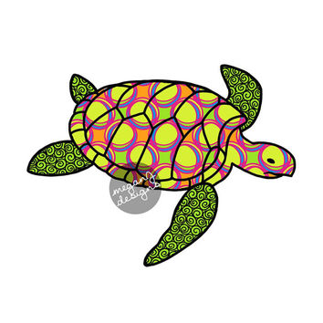 Sea Turtle Car Decal - Colorful Circles Beach Bumper Sticker Lime Green Pink Yellow Blue