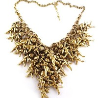 24 Gold Angels Bold Statement Collar Bib Charm Necklace NWT one size by Kat winnett