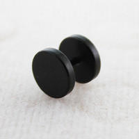 Pair of Black Anodized 316L Surgical Steel 16 Gauge Fake Ear Plug Earring