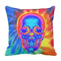Psychedelic Tie Dye Thermal Skull Design Throw Pillow