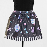 Fairy Kei Creepy Cute Inverted Cross Eyeball Bow Black Mini Skirt