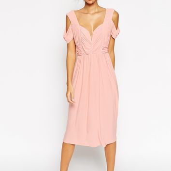 ASOS WEDDING Cold Shoulder Ruched Midi Dress