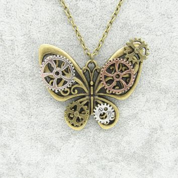 Hot Sale Pretty Butterfly with Gears Wings DIY Women`s Steampunk Pendant Necklace in Vintage Colors