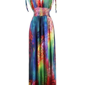 V Neck Color Block Women's Maxi Dress