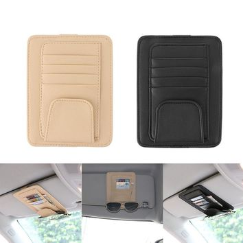 Vingtank Auto Visor Organizer Holder PU Leather Case for Cards Glasses Bills car storage Sunshade Storage Bag Black & Beige