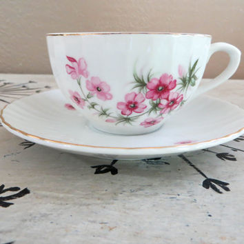 Tea Cups Floral Nippon Yoko Boeki Co. Teacups and Saucers Pink Floral Teacup Porcelain Tea Cup