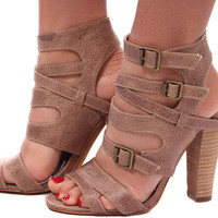 Taupe Wrapped Strap Chunky Heel