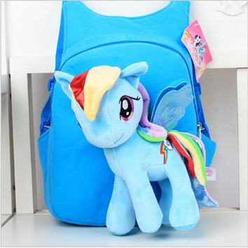 New Brand High Quality Cute 3D My Little Pony Plush Backpack Children's Shoulder Bag Cartoon School Bag for Kids Satchel