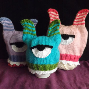 Knitted Monster Hat - Baby One-Eyed Monster Hat - Thumbless Mittens