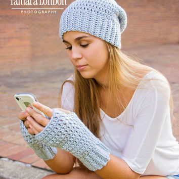 Crochet accessories set, ribbed slouch hat, ribbed fingerless gloves