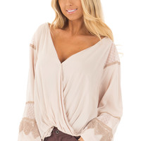 Taupe Long Puff Sleeve Top with Embroidery Lace and Mesh