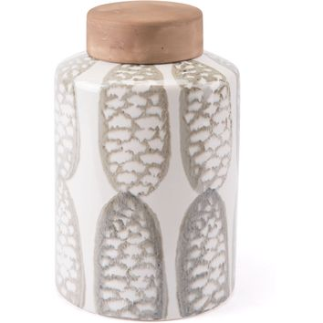 Ivory & Sage Green Feather Covered Jar, Large