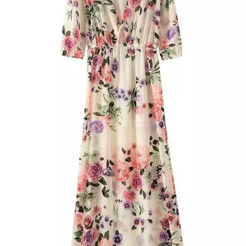 Floral Plunging V Neck Maxi Dress with Sleeve