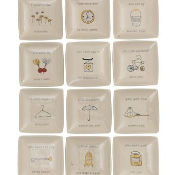 """Stoneware 4"""" Plate Picture & Saying 12 Styles"""