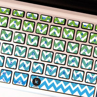 Blue Chevron - Decal Keyboard Sticker for Macbook Lenovo Asus Sony Dell HP Acer Samsung Toshiba Green Mint Zigzag