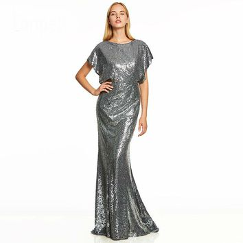 Backless long evening dress silver cap sleeves sequins floor length a line gown women scoop formal evening dresses