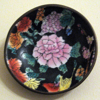 Oriental Pink Peony Bowl Enamel on Brass vintage 60s Home Wall Decor Ring Jewelry Trinket