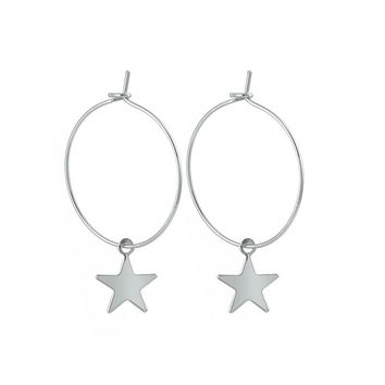 1Pair Fashion New Shining Simple Cute Star Small Hoop Earrings With Pendant Silver Gold Color Earrings For Women E300-T2