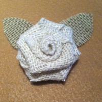 Shabby Chic Burlap Boutonniere Groom, Groomsmen, Father of the bride and groom, Ring bearer