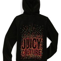 Juicy Couture 'Neon Dot Juicy' Velour Hooded Jacket (Toddler Girls, Little Girls & Big Girls)