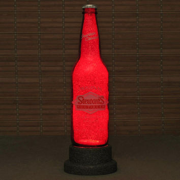 Stewarts Root Beer Bottle Lamp Night Light Bar Man Cave Deep Ruby Red Glow