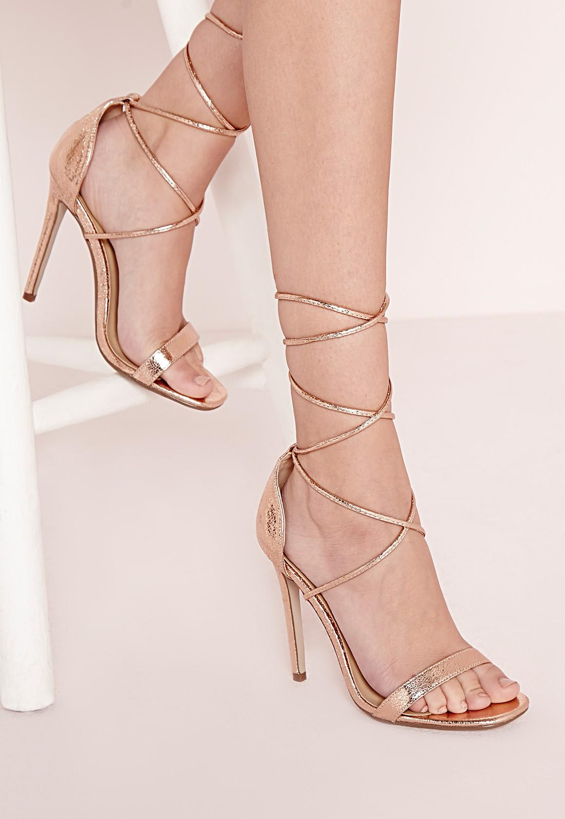 Missguided Lace Up Barely There Heeled From Missguided