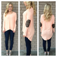 Coral & Gold Sequin Elbow Light Knit Top