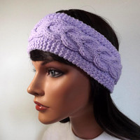 Boho Headband Womens Headband Adult Woman Headband Knit Headband Cable Headband Lavender Purple