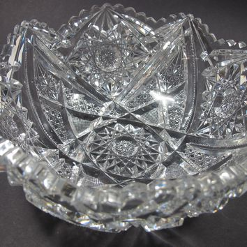 American Brilliant Period hand Cut Glass bowl hobstar